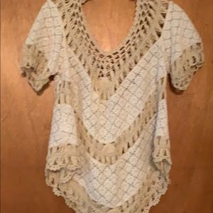 Cream and tan lace top